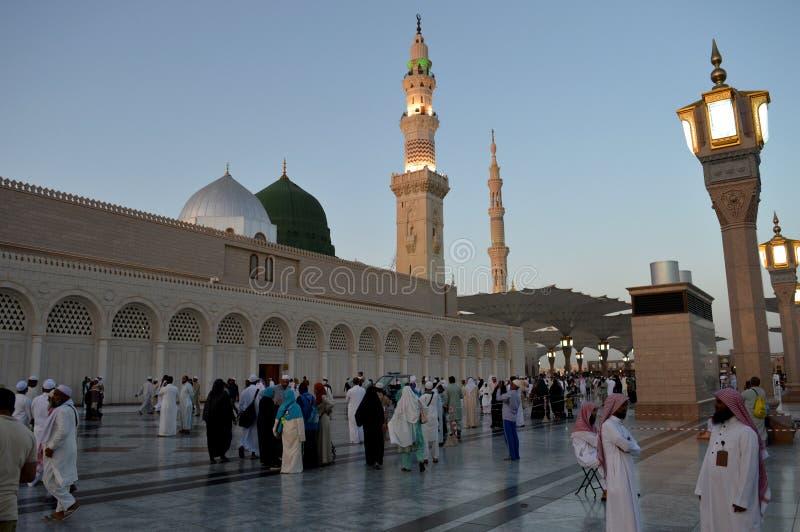 先知穆罕默德清真寺在Madinah AlMasjid An-Nabavi 伟大的伊斯兰教的清真寺在沙地阿拉伯航空阿拉伯半岛中 库存照片