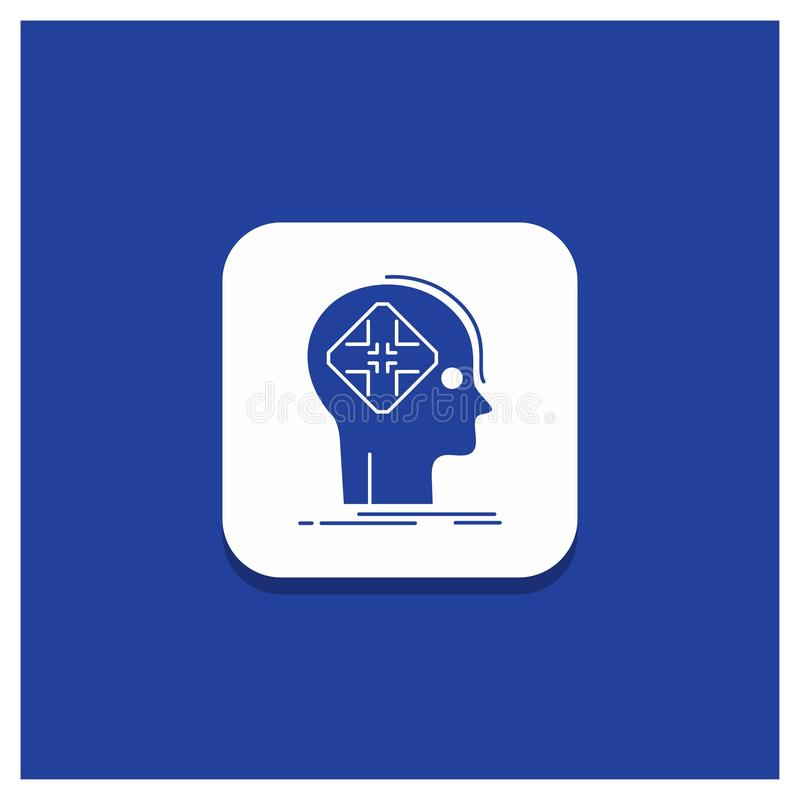 先进的,网络,未来,人,头脑纵的沟纹象蓝色圆的按钮 库存例证