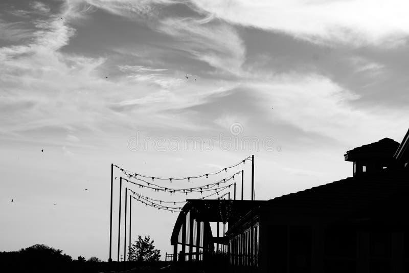 光串在一个大厦之外的在黑白 图库摄影