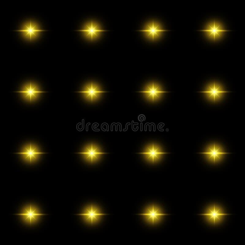 光亮星的无缝的样式 轻的闪光幻觉  黄色火焰 在黑色背景 向量例证