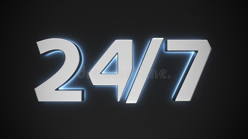 光亮标志24/7 皇族释放例证