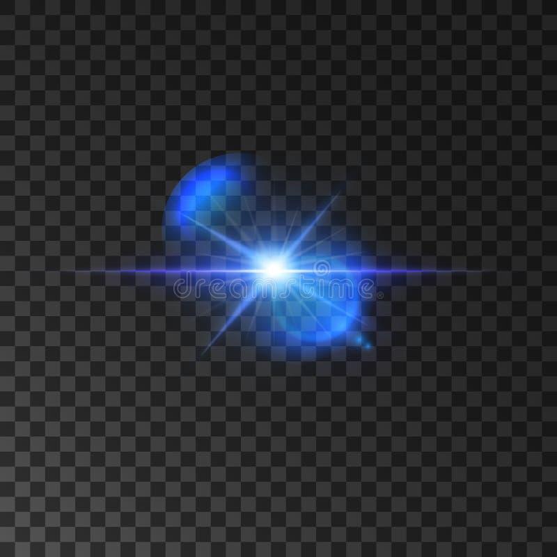 光亮的星闪烁的蓝色轻的闪光  向量例证
