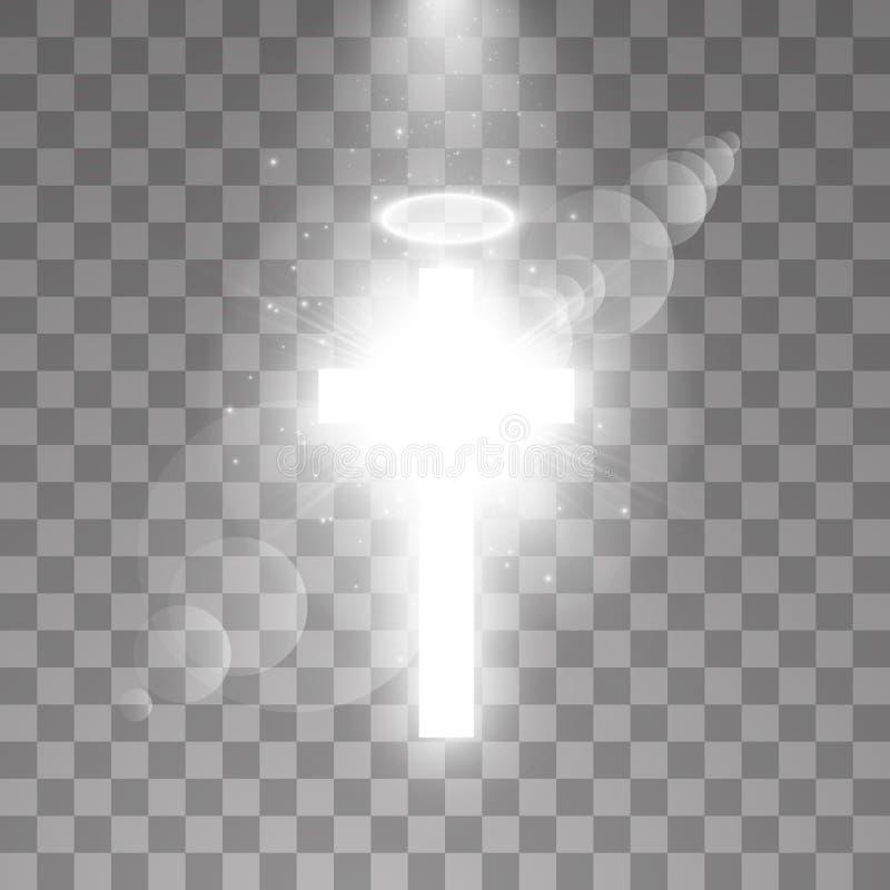 光亮的白色十字架和白色光晕天使圆环和阳光特别透镜火光光线影响对透明背景 向量例证