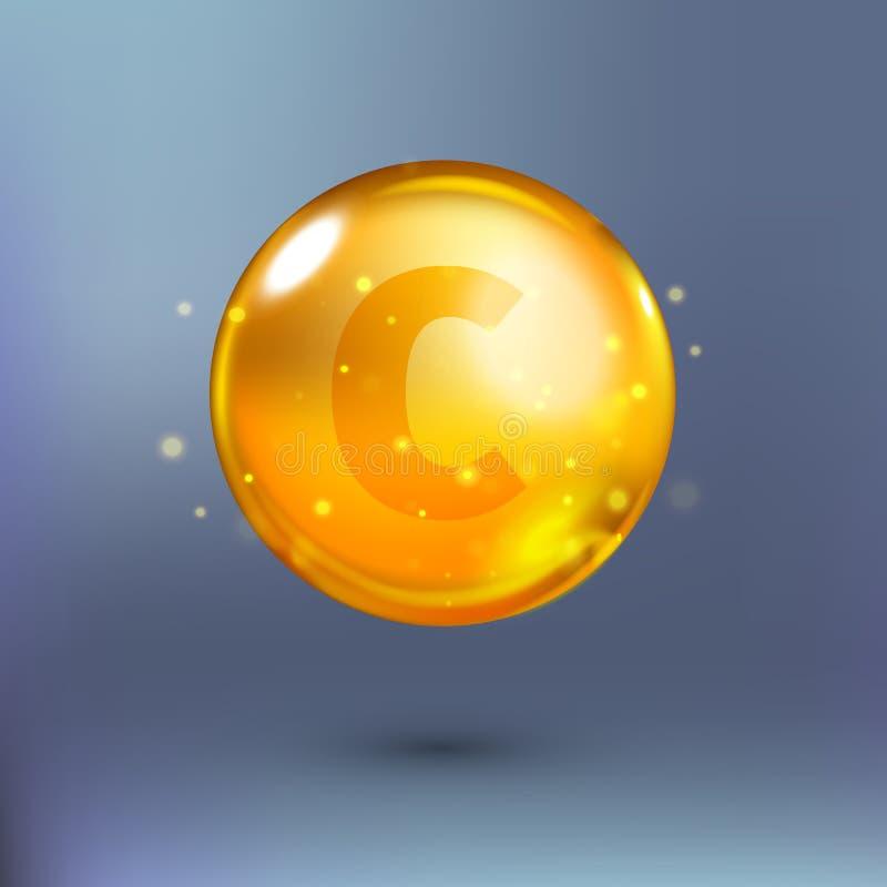 光亮的金黄精华圈子小滴 也corel凹道例证向量 库存例证