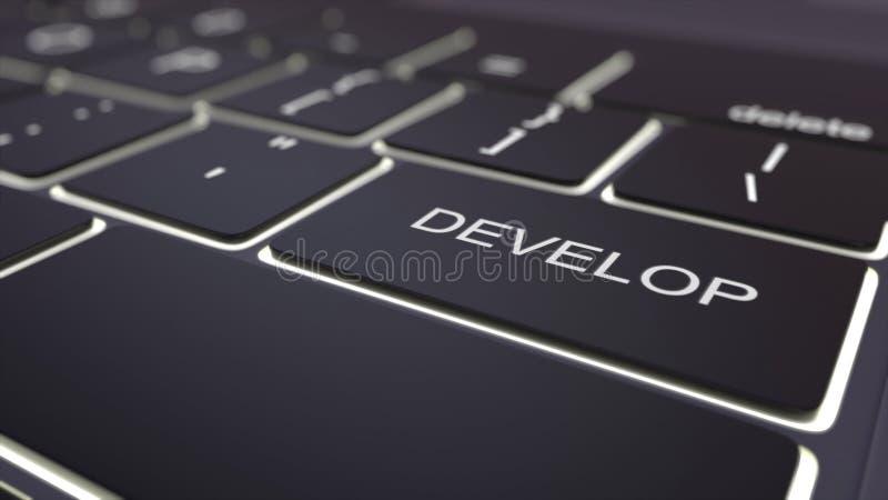 黑光亮键盘和开发钥匙 3d概念性翻译 库存例证