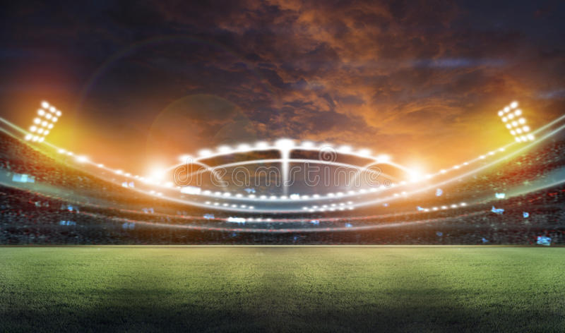 光和闪光的3d体育场 库存例证