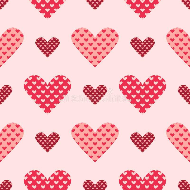 光和黑暗的桃红色无缝的心脏导航样式 库存例证