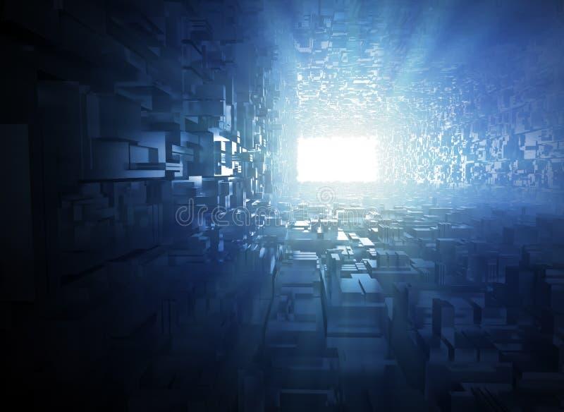 光在隧道的末端 库存例证