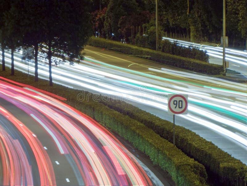 光在高速公路/高速公路,新加坡落后 库存照片