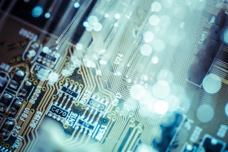 光学。光纤,纤维连接, telecomunications 免版税库存照片