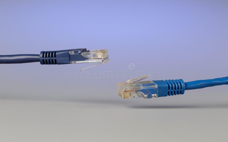 光学插接线lc和与插座rj45的铜电缆特写镜头  库存照片