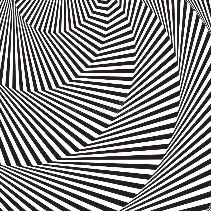 光学艺术的背景 3d错觉 现代波浪几何背景 单色模式向量 库存例证