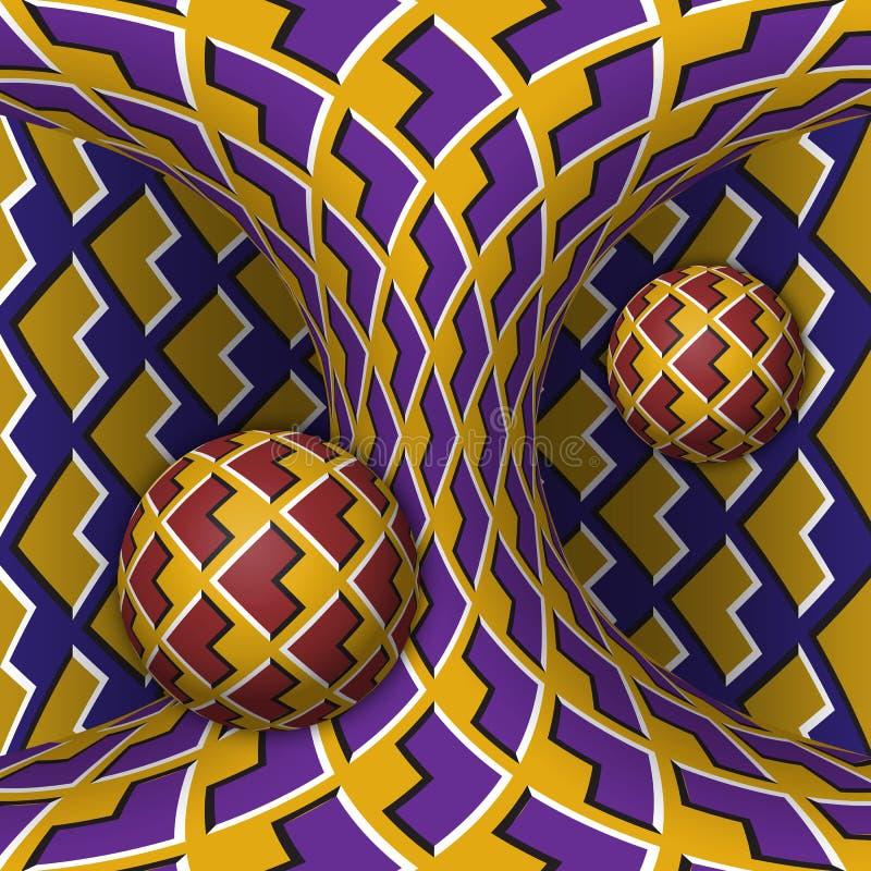 光学行动幻觉例证 两球形是自转一移动的hyperboloid 在一个超现实的样式的抽象幻想 皇族释放例证