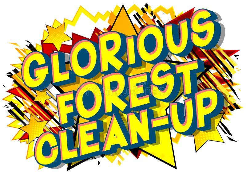 光彩的森林清洁-漫画样式词 向量例证