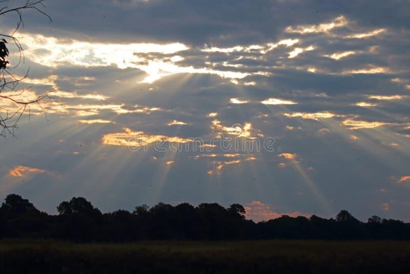 光戏剧在云彩的在日落 免版税库存照片