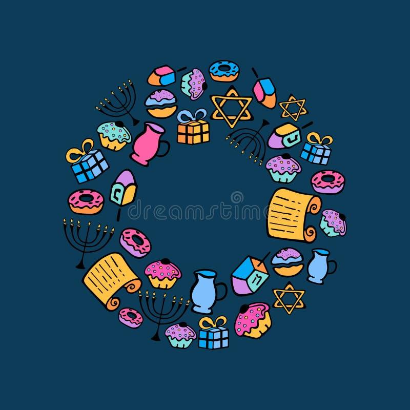 光明节 一套menorah, dreidel,蜡烛,摩西五经,在乱画样式的油炸圈饼的传统属性 来回的框架 库存例证