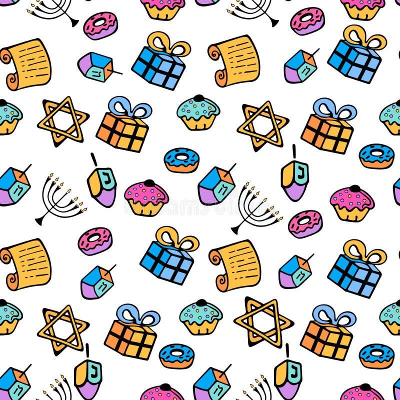 光明节 一套menorah,dreidel,摩西五经,在乱画样式的多福饼的传统属性 无缝的模式 皇族释放例证