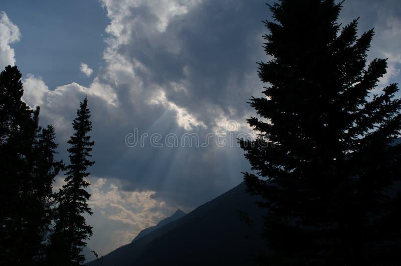 光束断裂通过在陡峭的山谷倾斜上的风雨如磐的云彩,现出轮廓在前景的树 库存图片