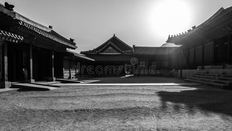 光束照明设备hanok,传统韩国房子 详述gyeongbokgung被阐明的韩国晚上宫殿屋顶汉城南部 库存照片