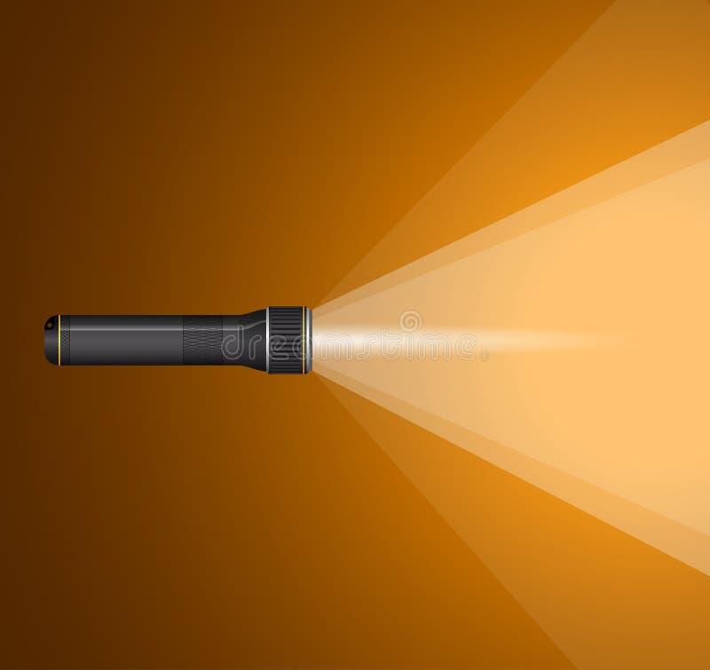 光柱从手电的 黑色金属 库存例证