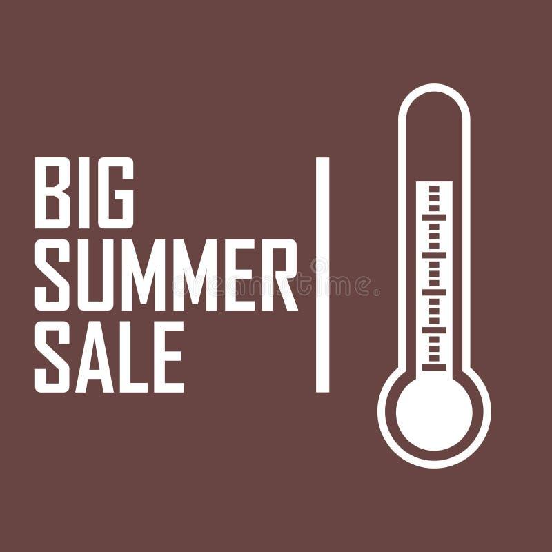 光栅一个白色温度计的图画海报在深红背景的与题字`大夏天销售` 皇族释放例证