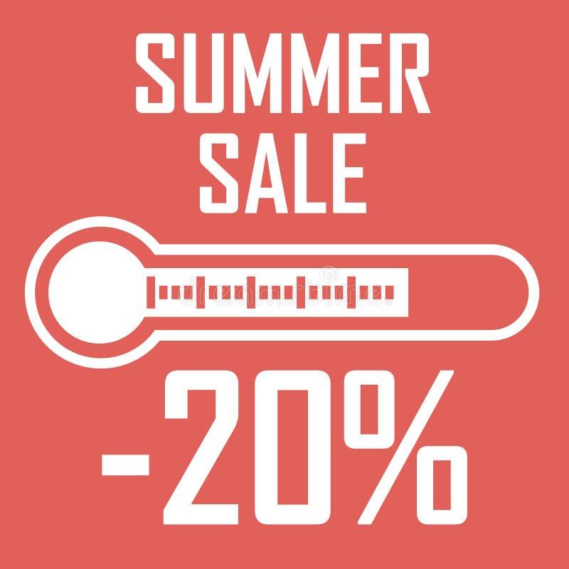 光栅夏天折扣图画海报  以显示百分之二十的白色温度计的形式销售 另外的背景是蓝色蝴蝶装生动被更改的标志格式销售额天空夏天的星期日于罐中 库存例证