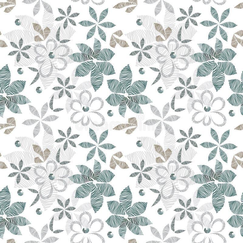 光栅花卉无缝的时髦的样式,孵化了葡萄酒简单的形状装饰轻的花和叶子  向量例证