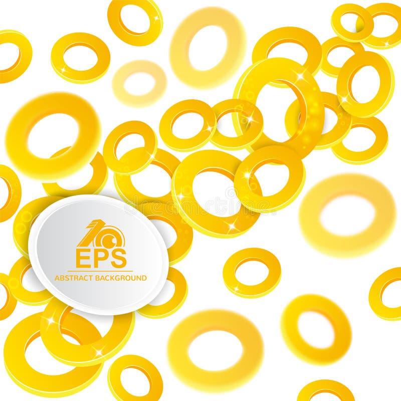 光滑抽象的背景 与景深的金黄圆环对白色的作用 向量例证