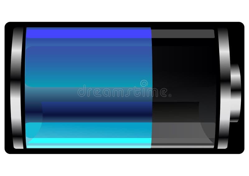 光滑的半满的蓝色电池 库存例证
