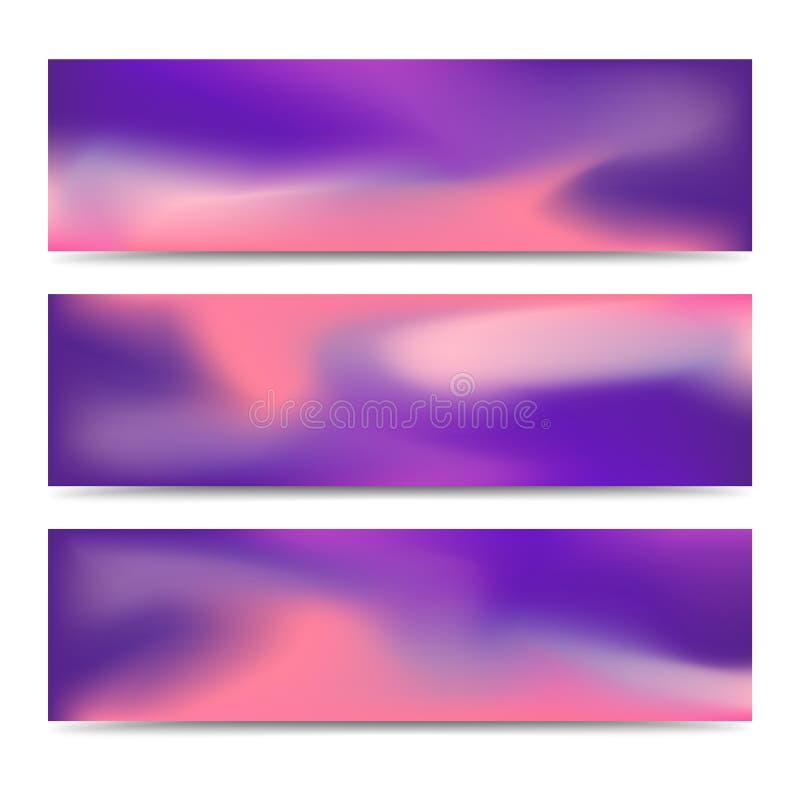 光滑的抽象被弄脏的梯度横幅集合 向量例证