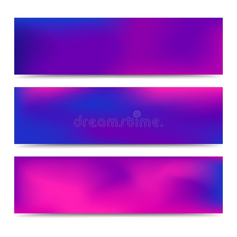 光滑的抽象被弄脏的梯度紫色横幅 库存例证