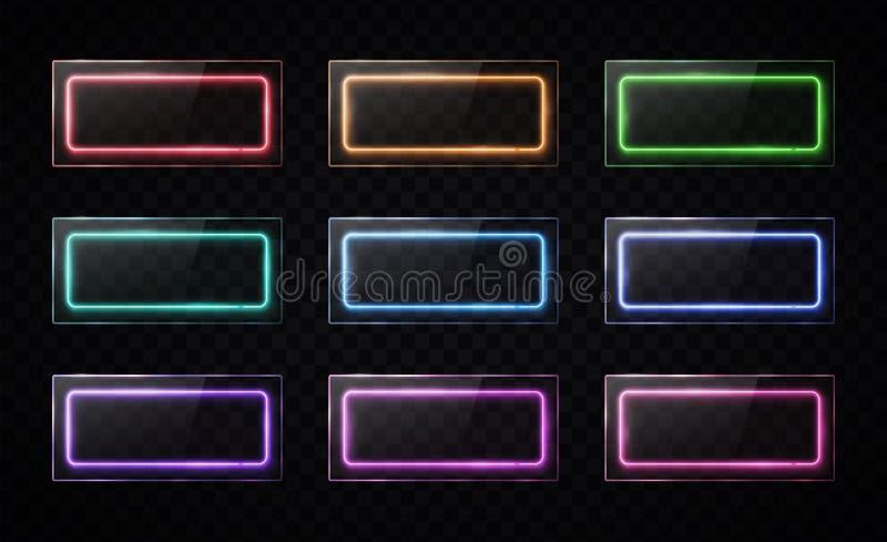 光滑的按钮集合 五颜六色的卤素灯横幅 皇族释放例证