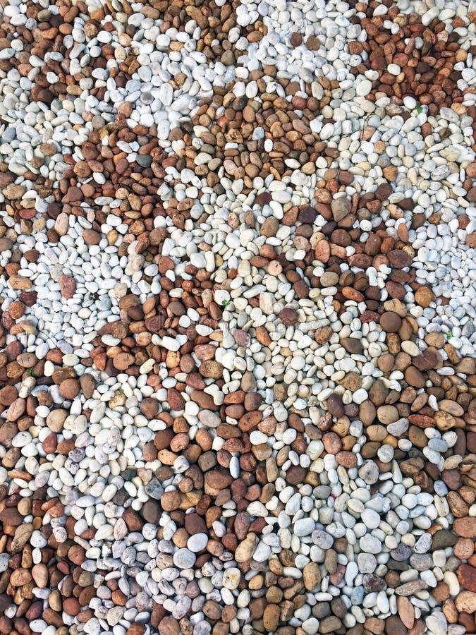 光滑的棕色,黑,灰色,白色小卵石或石头的样式用途装饰和庭院环境美化的 库存图片