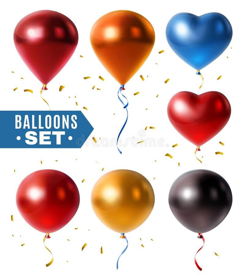 光滑的气球和金黄五彩纸屑集合 库存例证