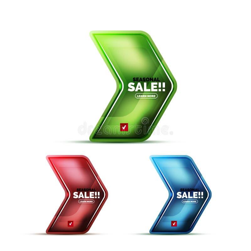 光滑的玻璃几何箭头价格销售网标签,现实象 向量例证