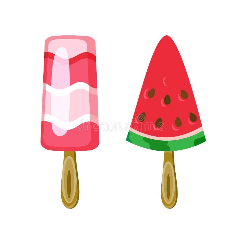 光滑的甜点,夏天点心,冰淇凌传染媒介 皇族释放例证
