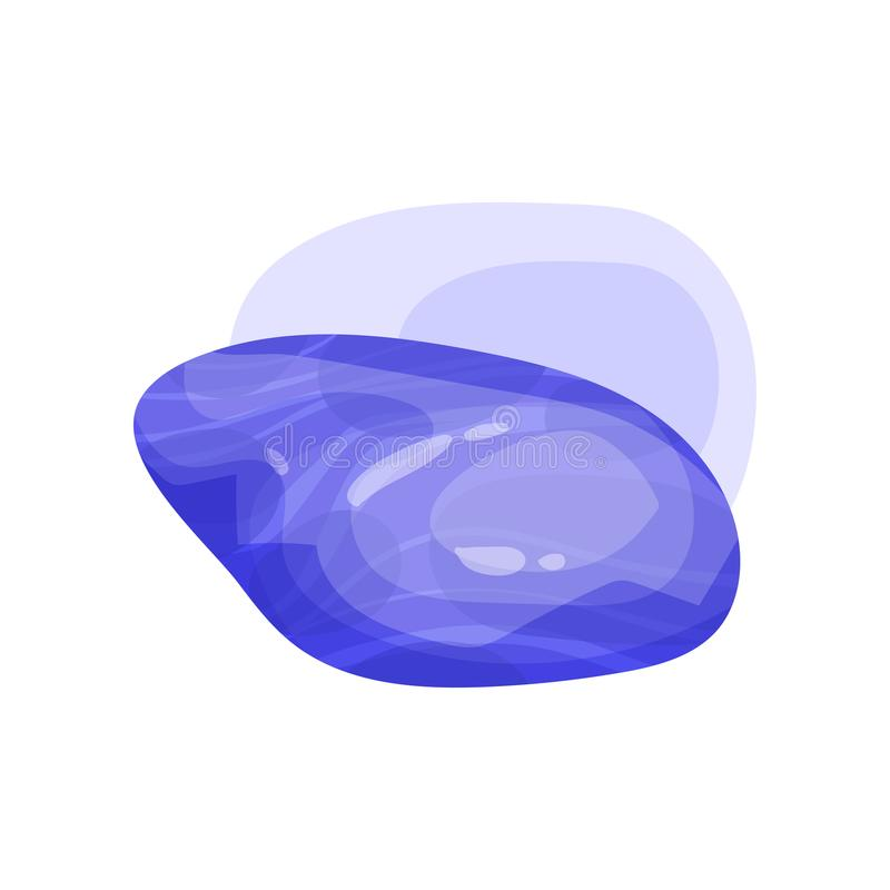 光滑的紫色宝石 与光滑的表面的发光的宝石 机动性或计算机游戏财产的平的传染媒介元素 库存例证