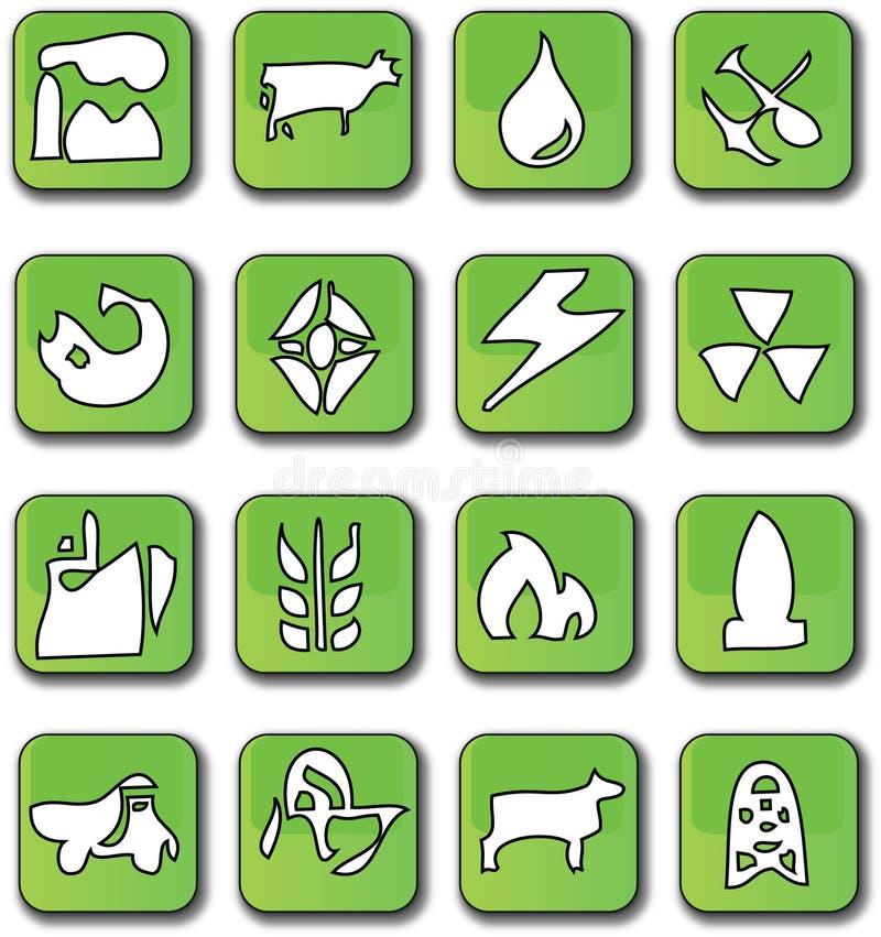 光滑的绿色图标行业 库存例证