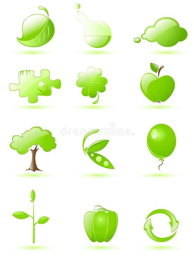光滑的绿色图标集 皇族释放例证