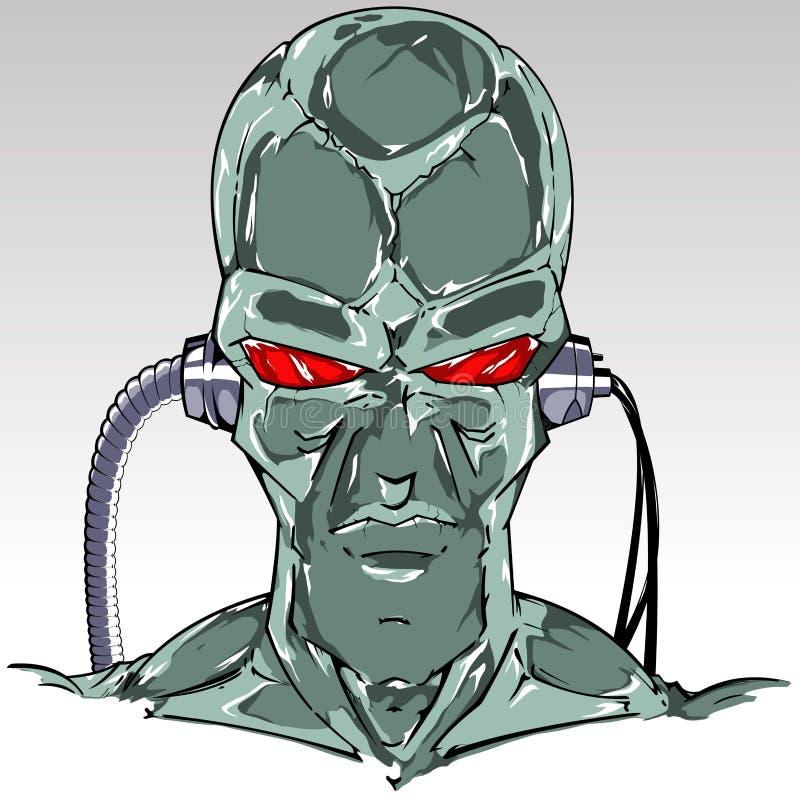 光滑的绿色皮肤靠机械装置维持生命的人头 库存例证