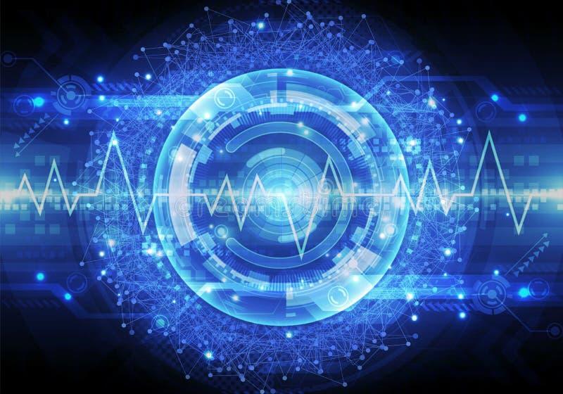光滑的脉冲的艺术性的摘要3d例证在能量现代技术背景一个光滑的球排行  向量例证