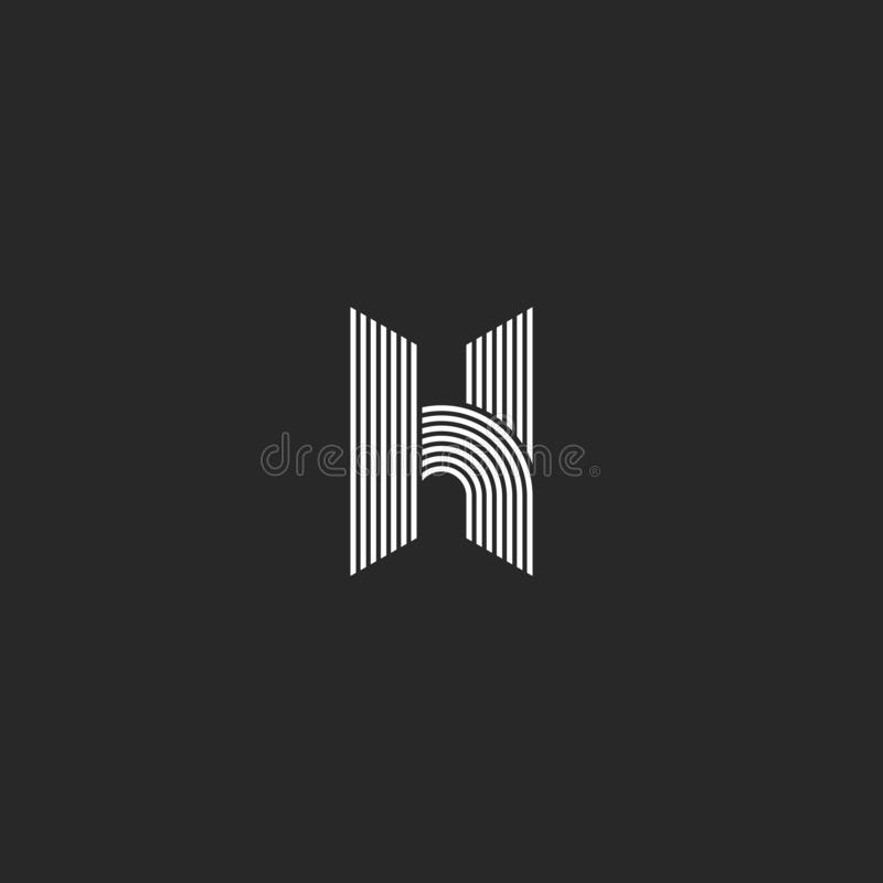 光滑稀薄的线几何H信件商标组合图案大模型,黑白最初的象征,线性几何平行的形状 向量例证