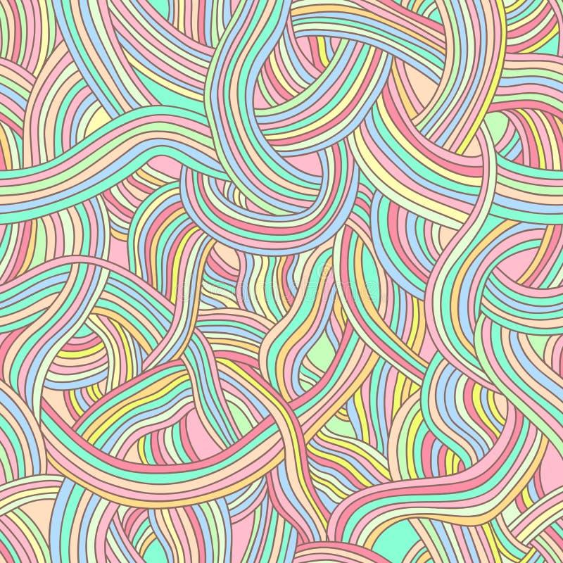 光滑,神仙的rainb彩带的无缝的传染媒介样式  库存例证