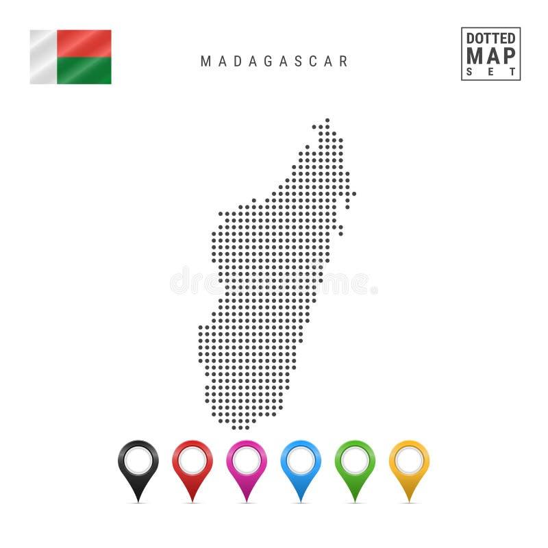 光点图形马达加斯加的传染媒介地图 马达加斯加的风格化剪影 标志马达加斯加 多彩多姿的地图标志 皇族释放例证