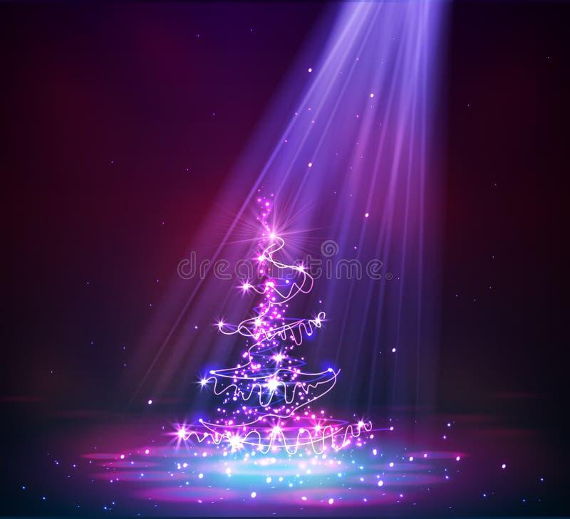 从光的圣诞树 向量例证