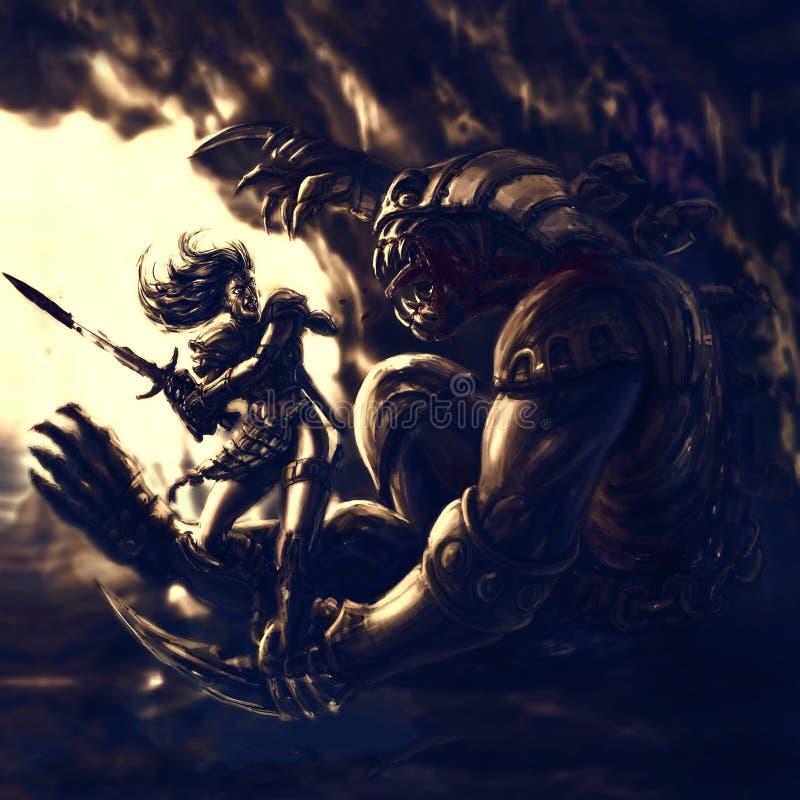 光的战士反对黑暗的邪魔的 皇族释放例证