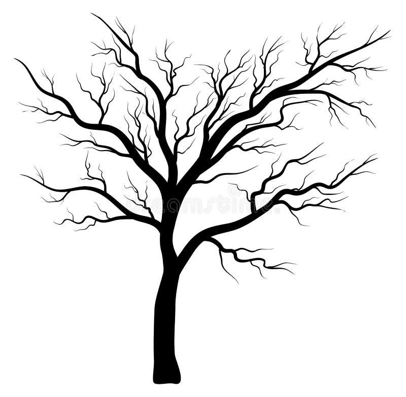 光秃的树剪影传染媒介标志象设计 库存例证