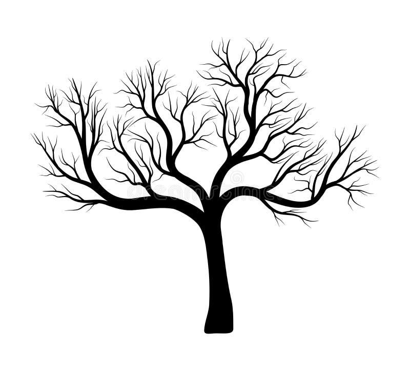 光秃的树剪影传染媒介标志象设计 向量例证