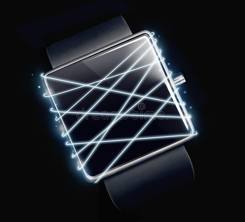 光纤与在黑暗的背景的smartwatch 免版税库存照片