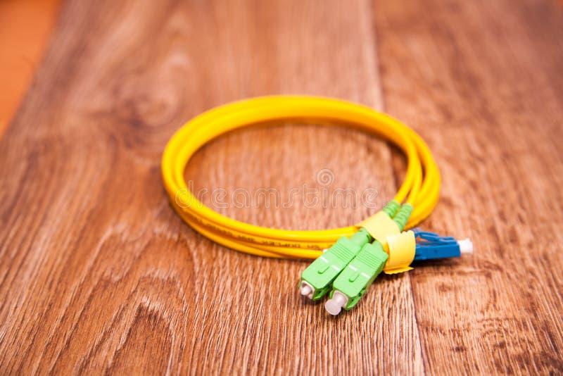 光纤插接线 库存图片